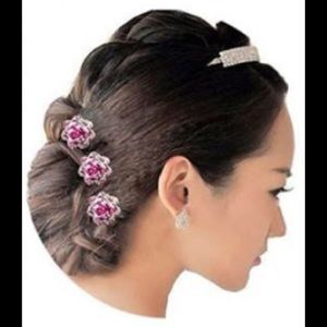 Accessories - Stunning pink rose hair pins!  New 10 pc set